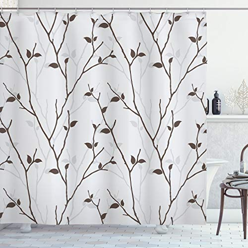Ambesonne Leaf Shower Curtain, Branches in The Fall Trees Stem Twig with Last Few Leaves Minimalistic Design Art, Cloth Fabric Bathroom Decor Set with Hooks, 84' Long Extra, Grey Brown