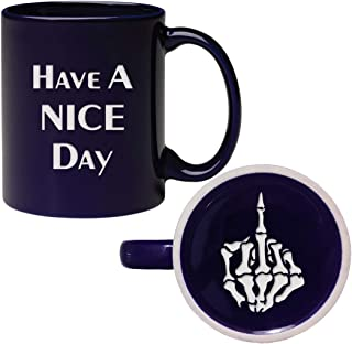 Engraved Have A Nice Day Coffee Mug, Funny Cup With Skull Middle Finder Bottom
