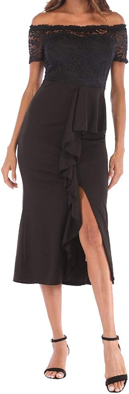 HKDQZ Dress Casual Lace Collar Long Dress Summer Party Dress Fashion Dress