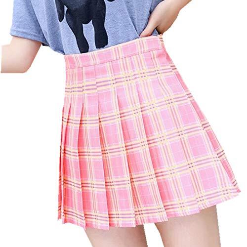 Carolilly Ragazza Pieghe Gonna Harajuku Stile Preppy Plaid Gonne Mini Carino Giapponese Scuola Uniformi Signore Jupe Kawaii Gonne rosa S