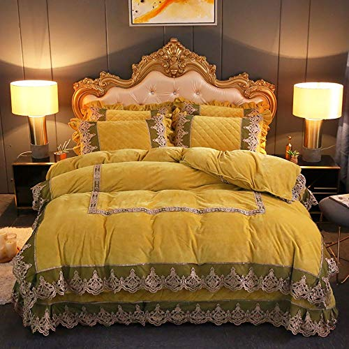 GGFHH 4pcs Duvet Cover Sets, Coral fleece Duvet Cover with Lace Pattern Printed Comforter Cover with Zipper Closure and Corner Ties(200x230cm for 1.8m bed)