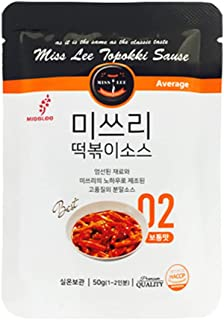 MISSLEE Food TTEOKBOKKI Sauce Korean Foods toppogi Ddeokbokki Stir-Fried Rice Cake Sauce Level 2 Mild, Pack of 5