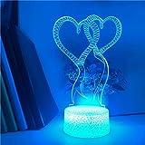 Globo de amor creativo 3D base agrietada multicolor LED decoración de luz nocturna acrílico decoración de Navidad regalo