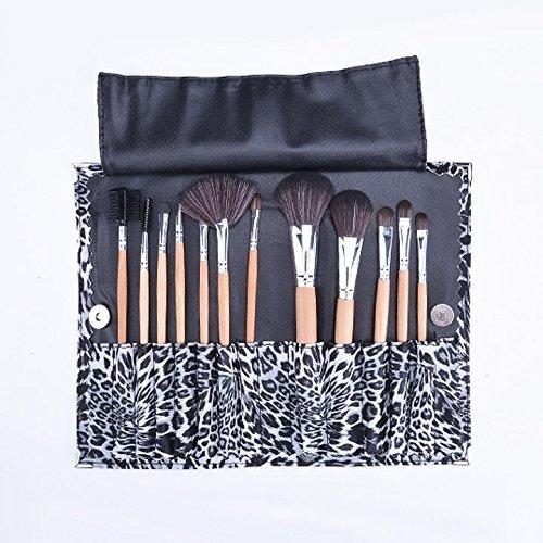 Lot de 12 pinceaux de maquillage avec motif léopard