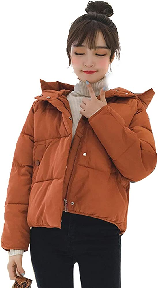Shanenxn Women's Winter Thick Warm Down Coat Cotton Parka with Hooded Quilted Jacket Outwear (Color : Caramel, Size : XXL)
