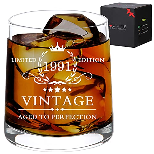 Funny 30th Birthday Gifts for Him Dirty 30 Year Old Gift for Mens Gag 30th Years Gift Ideas for Man Husband Bday Party Decorations Supplies Turning 30 Vintage 1991 Whiskey Glass 9.5oz
