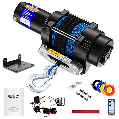 Anbull 12V 4500lb Electric Winch,Synthetic Rope ATV UTV Winch with Mounting Bracket/Wireless Remote Control for Towing ATV/UTV