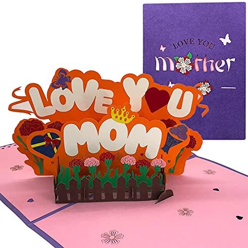 Pop Up Karte - 3D Karte, Muttertagskarte, Blumen Karte, Karte für Mutter, Pop Up Grußkarte, Love You Mom Grußkarte