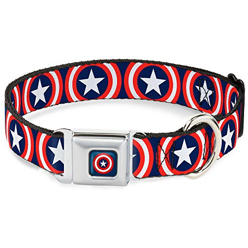 Buckle-Down Seatbelt Buckle Dog Collar - Captain America Shield Repeat Navy - 1' Wide - Fits 11-17' Neck - Medium