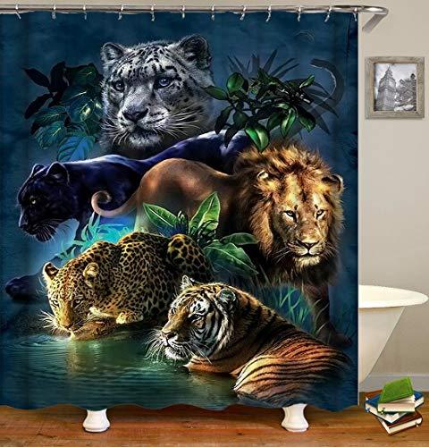 Duschvorhang mit Wildtier-Motiv, grün-orange & schwarz, Löwe, Tiger, Leopard, Panther, Stoff, Badezimmer-Dekoration, Polyester-Stoff, mit Haken, Set 183 x 183 cm (TP627)
