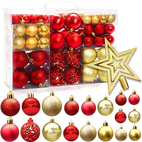 Tonsooze Palline di Natale 101pz Palline Natalizie Decorazioni Albero di Natale Palla Palline decorative Rosso e Oro Con Cima dell'albero, Plastica decorazioni per albero di Natale Addobbi Feste Nozze