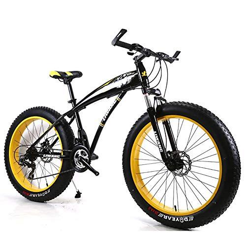 Unbekannt Mountainbike Herren MTB Bike 26 Zoll Fat Tire Fahrrad Schnee-Fahrrad Mit Scheibenbremsen Und Federgabeln,Black Yellow,24Speed