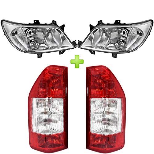 FACELIFT Komplett-Set L/R Rückleuchten + Scheinwerfer H7 / H7 / H3 mit Nebelleuchte E-Pruf