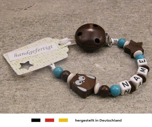 Baby SCHNULLERKETTE mit Namen - Schnullerhalter mit Wunschnamen - Mädchen Jungen Motiv Stern und Eule in braun