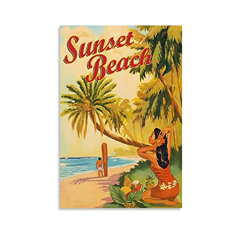 chenyun Vintage-Reise-Poster, Sonnenuntergang, Strand, Hawaii, Surf, Leinwand-Kunst-Poster und Wand-Kunstdruck, modernes Familienschlafzimmerdekor-Poster
