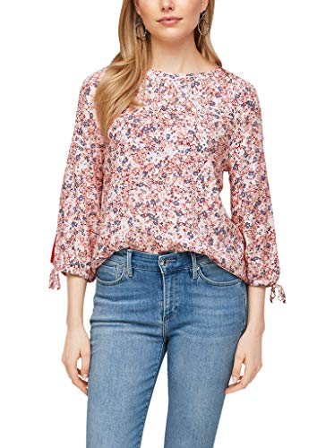 s.Oliver Damen Dobby-Bluse mit Blumenmuster Light Blush AOP 42