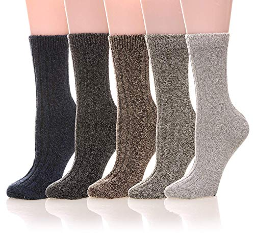 Womens 5 Pairs Soft Comfort Thick Casual Cotton Warm Wool Crew Winter Socks (5 Pack Solid color B)