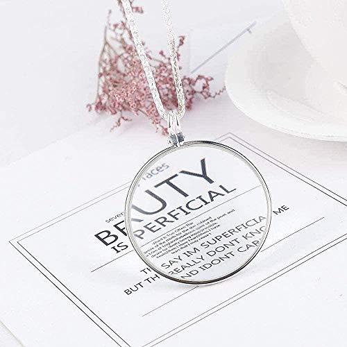 Aluyouqi Co.,ltd Halsband förstoringsglas läsning runt förstoringsglas linshänge kedja halsband gåva för kvinnor och flickor
