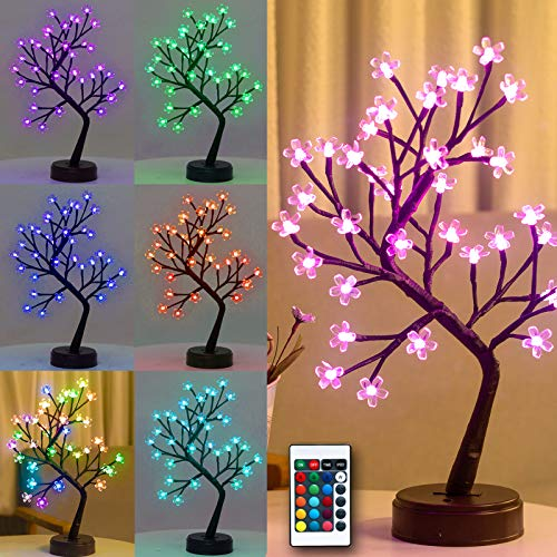 Pooqla RGB Cherry Blossom Tree Light with Remote Control 16 Color-Changing LED Artificial Flower Bonsai Tree Table Top Lamp Modern Home Lit Tree Centerpieces Decoration 36 LED
