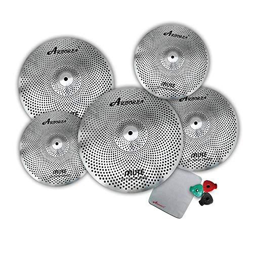 "Arborea silver drum set cymbal Mute cymbal set 14'hihat+16'crash+18""crash+20ride low volume cymbals for drum"