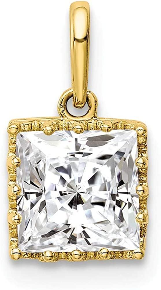 10K Yellow Gold Tiara Collection Polished Square Cubic Zirconia Pendant