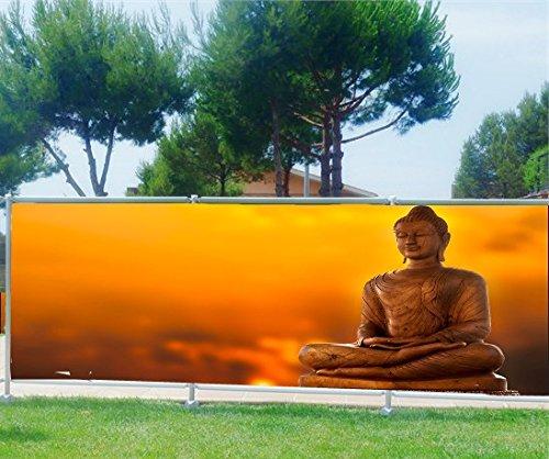 StickersNews Brise Vue Bedruckt, Garten, Terrasse, Balkon Deko Buddha, Polyester, 100%, 250x97cm