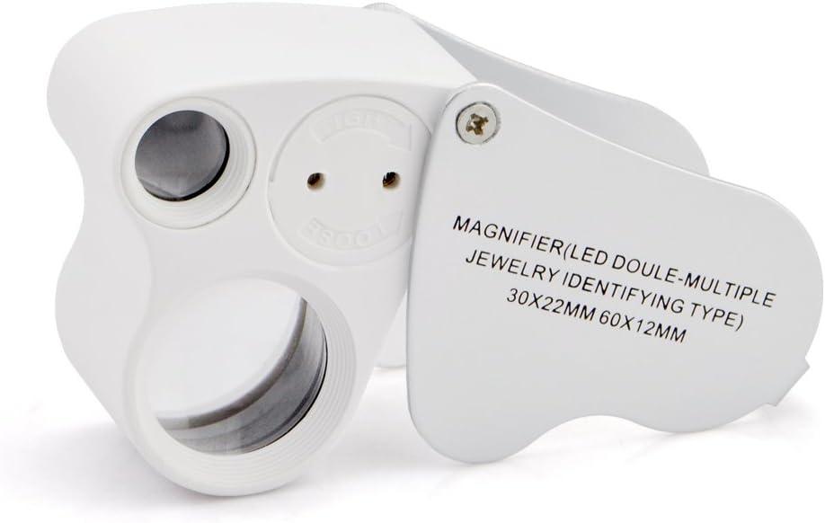iKKEGOL 30x 60x Illuminated Jewelers Sales for sale Loupe El Paso Mall Eye Magnifier Foldabl