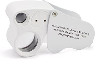 iKKEGOL 30x 60x Illuminated Jewelers Eye Loupe Magnifier Foldable Dual Lens LED Metal Jewelry Magnifying for Coins Stamps & Carrying Case