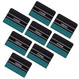 FOSHIO Black Card Squeegee con Borde de Fieltro de Micro-Fibra Verde 4 Pulgadas de Vinilo de Coche de instalación de la Herramienta práctica para Vinilo Auto Envoltura, Pack-8