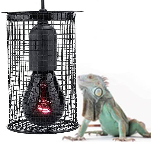 Zyyini Pantalla Anti-Calor para Reptiles, pequeña luz Redonda Diurna Luz Nocturna Jaula de Malla Lámpara Lámpara Caja de Bombilla para Proteger la protección de Reptiles
