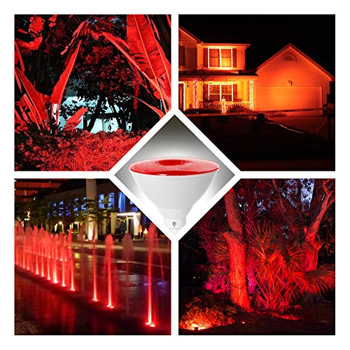2 Pack BlueX LED Par38 Flood Red Light Bulb - 18W (120Watt Equivalent) - Dimmable - E26 Base Red LED Lights, Party Decoration, Porch, Home Lighting, Holiday Lighting, Red Flood Light (Red)