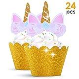 Get Fresh Einhorn Cupcake Toppers und Wrappers - 24 Stücke