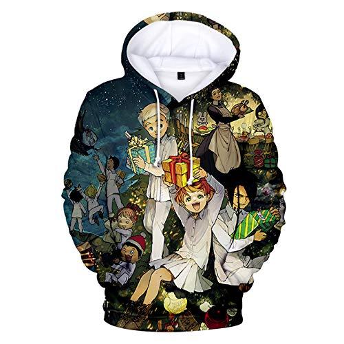 YZJYB Mujeres Adulto Sudaderas con Capucha 3D Impreso The Promised Neverland Hoodies Sweatshirt Bolsillos Emma Cosplay Costume Casual Tops De Manga Larga Pullover,Large