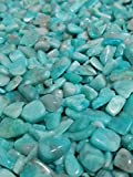 JM 1.1 lb Amazonite Nature Stones & Crystal Tumbled Chips Gemstone Crushed Pieces Irregular Shaped Jewelry Making Home Crafts Projects Flower Pot Fish Tank Decoration Gift