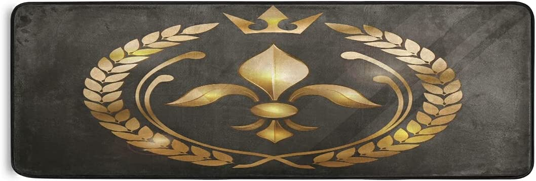 Gold Lily Fleur De Lis Runner Rug Kitchen latest Mats Laundry Rugs Challenge the lowest price Bath