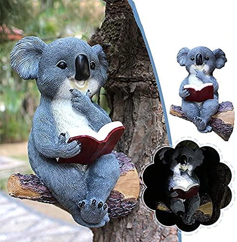 JYDNBGLS Koala - Estatua colgante de árbol solar, estudio de simulación dura de koala, esculturas de árbol de 7 pulgadas para adornos de jardín al aire libre, arte del patio y amantes de la naturaleza