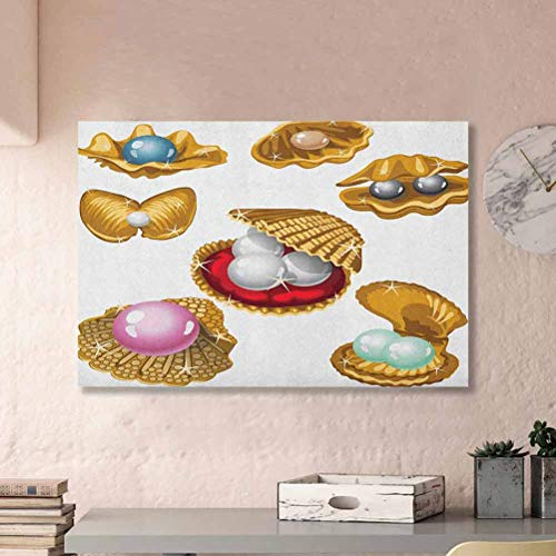 ParadiseDecor Pearls Classroom Wall Decor Set of Open Shells with Different Type of Pearls Wealth Ancient Gemstone of The Sea Print Basket Multi L36 x H24 Inch