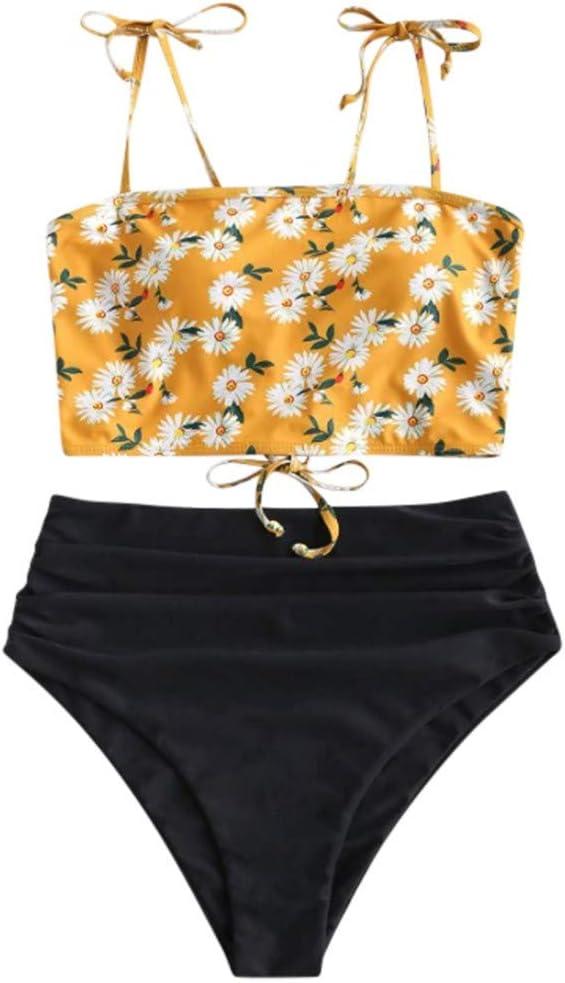Women's Floral Bikini Set Spring 2020 High Waist Daisy Print Two-Piece Swimsuit Beachwear (1-Yellow, S)