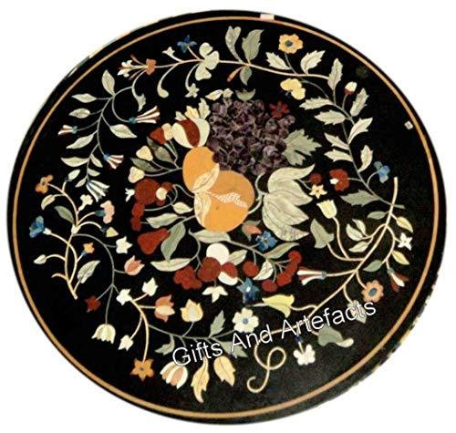 Gifts And Artefacts - Mesa de centro de mármol negro (18 x 44 cm), diseño de Pietra Dura Art