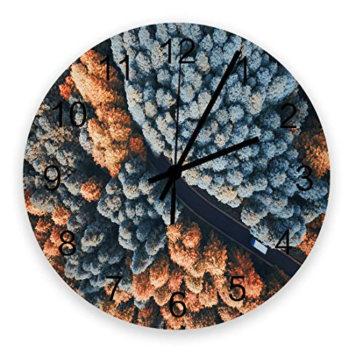 Queen Area Wooden Wall 12 Inch Clock Silent Quartz Non-Ticking Battery Operated Hanging Clock for Home/Office/School/Kitchen Aerial Photo of Autumn Ginkgo Tree Road