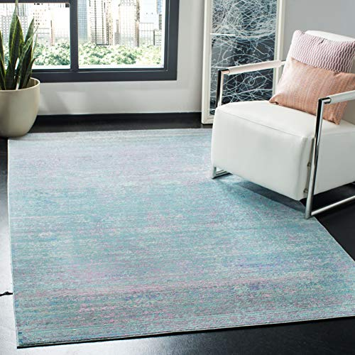 Safavieh Valencia Collection VAL203P Turquoise and Multi Distressed Watercolor Silky Polyester Area Rug (5' x 8')