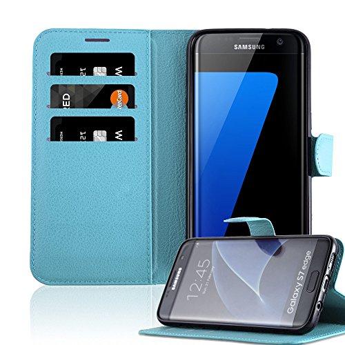 Cadorabo Funda Libro para Samsung Galaxy S7 Edge en Azul Pastel – Cubierta Proteccíon con Cierre Magnético, Tarjetero y Función de Suporte – Etui Case Cover Carcasa