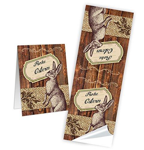 Logbuch-Verlag 10 Aufkleber FROHE OSTERN - Osteraufkleber Vintage Nostalgie braun in Holz-Optik - Verpackung Osternest Sticker Etiketten