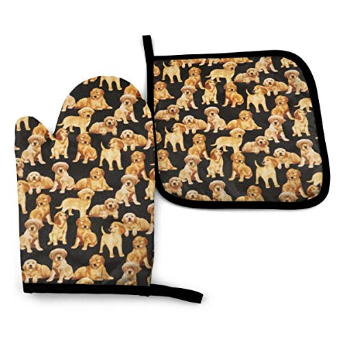 Antvinoler Oven Mitts, Pot Holders for Kitchen, Oven Gloves Heat Resistant Non-Slip Be Used for BBQ Cooking Baking Grilling-Black Golden Retriever Dog Puppy