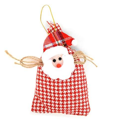 BG Holiday Christmas Tree Ornament Santa in a Stocking Hanging Decoration Plaid