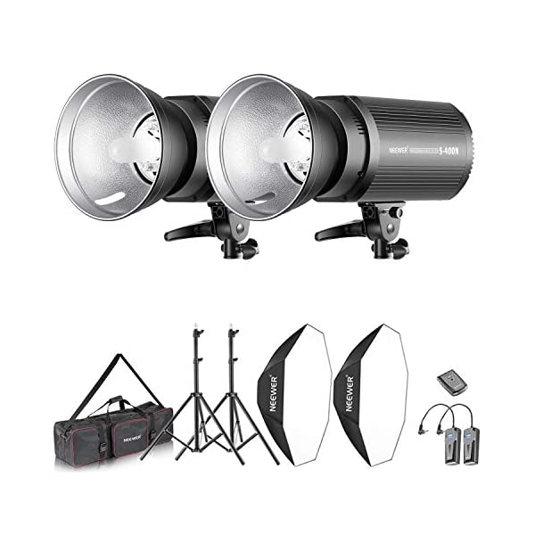 Neewer 800W Photo Studio Strobe Flash and Softbox Lighting Kit: (2)400W Monolight Flash(S-400N),(2)Reflector Bowens…