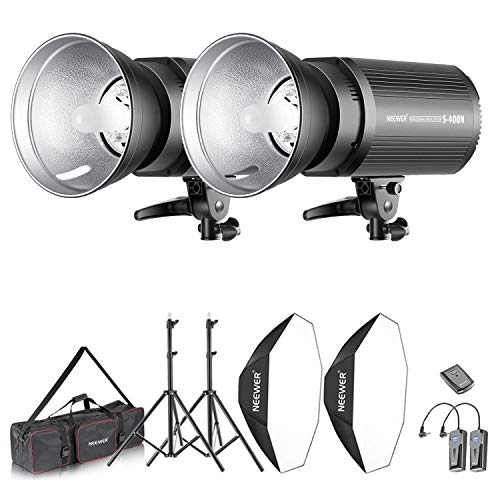 Neewer Kit d'Illuminazione 800W Strobo Flash & Softbox: (2) 400W Flash Monoluce (S-400N) (2) Riflettore con Attacco Bowens (2) Cavalletto (2) Softbox (2) Lampadina (1) RT-16 Trigger (1) Borsa