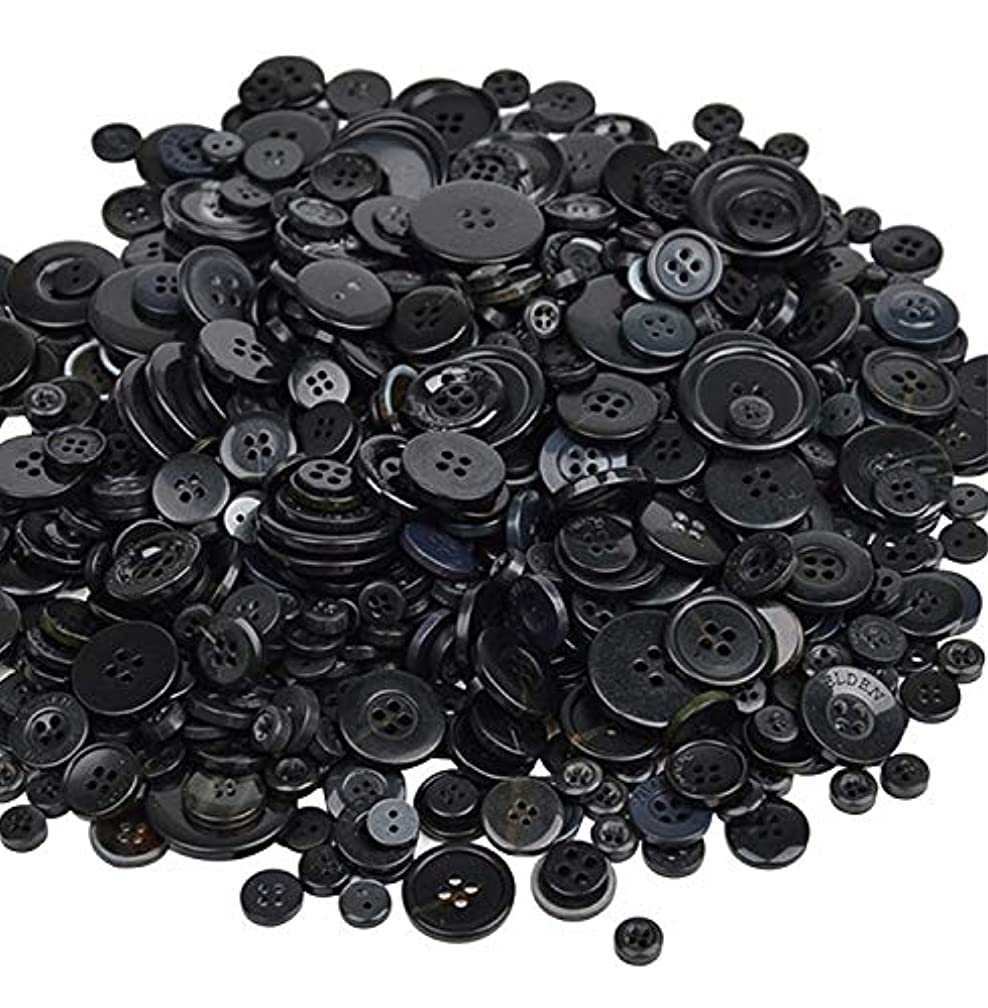koboome 600 Pcs Assorted Sizes Resin Buttons 2 and 4 Holes Round Craft Buttons Fit Sewing, Scrapbooking, Kids DIY Handmade Decorations (Black)