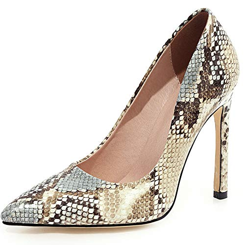 nobrand Damen Pumps High Heel Stilettos spitz zulaufender Zehenbereich Schlangenhaut Muster Party Hochzeit Kleid Absätze Schuhe, Beige A - Größe: 34 EU