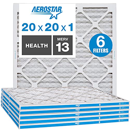 Aerostar Home Max 20x20x1 MERV 13 Pleated Air Filter, Made in the USA, Captures Virus Particles, 6-Pack